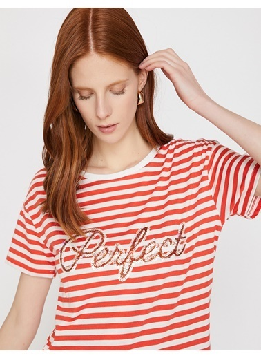 Koton Pul Detaylı T-Shirt Kırmızı